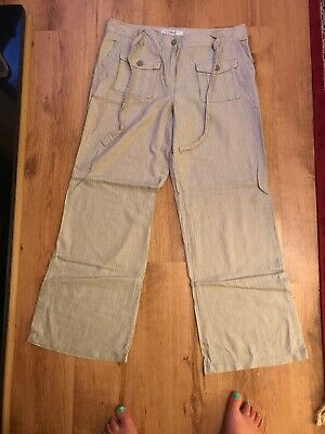 £6.99 • Buy Ladies Size 12 Striped Linen Trousers Worn Once Excellent Condition