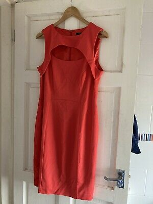£4.99 • Buy French Connection Fire Coral Red Dress Sz UK  16 Body Con Cut Out