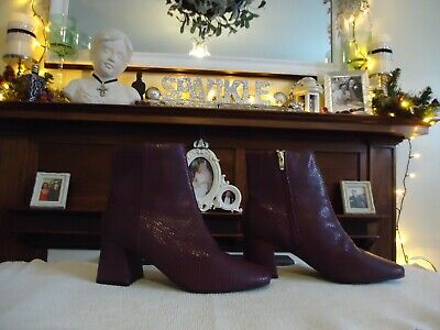 £16 • Buy NEW £59 M&S Size 7 Ladies Leather Ankle Boots BURGUNDY Snakeskin Effect HEEL ZIP