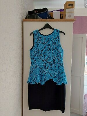 £6.99 • Buy Dorothy Perkins Peplum Dress Size 14, Stunning Lace And Colour Turquoise