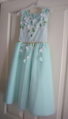 £25 • Buy Monsoon Girls Dress Age 8 Years Flowers Mint Green Gold Party