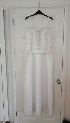 £34.99 • Buy Jessica Lady Size 14 White Satin Embroidery Sequence Corset Wedding Prom Dress
