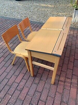 £45 • Buy Vintage Double Childrens School Desk With Two Chairs