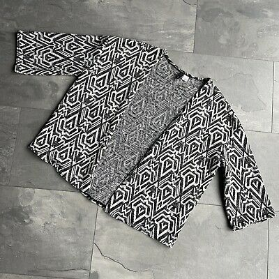 £2.99 • Buy Ladies Grey & Ivory Aztec Pattern 3/4 Sleeve Cardigan Size L From H&M
