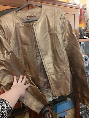£14 • Buy M&S Size 20 Fit Size 18 Gold Real Leather Zip Up Front Biker Jacket