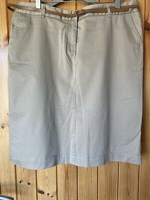 £8.50 • Buy M&Ladies Chino Skirt With Belt Size 16, Taupe