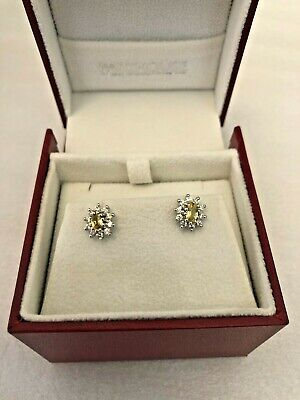 £375 • Buy QUALITY 18ct Gold Earrings With Central YELLOW SAPPHIRE & Diamond Cluster 3.0g
