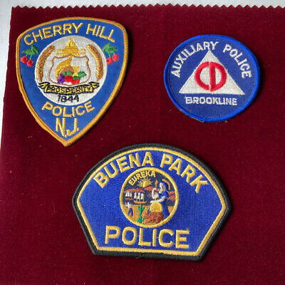 £5.99 • Buy Vintage USA Police Patch Badge Brookline Auxilary, Buena Park And Cherry Hill NJ