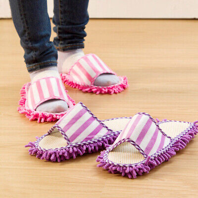£7.58 • Buy Home Coral Fleece Mop Slippers Striped Foot Shoes Unisex Cleaning Chenille Quick