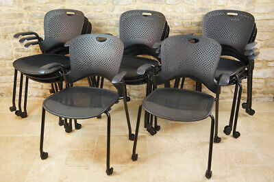 £150 • Buy Set Of 3 Herman Miller Caper Armchairs, Black Task Desk Stacking Chair, USA