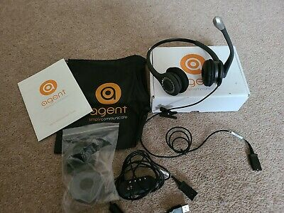 £15 • Buy Agent 800 Binaural Noise Cancelling Phone Headset Call Centre Office