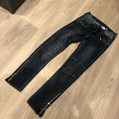 £9.99 • Buy H&M Ladies Size 26W Skinny Low Rise Ankle Zip Blue Biker Style Jeans Casual
