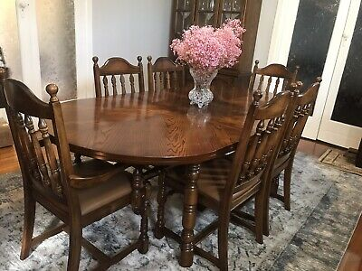 AU299 • Buy Extendable Antique Solid Timber Dining Table With 6 Matching Chairs