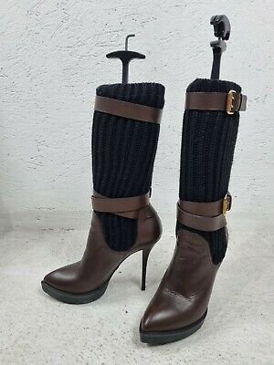£229.99 • Buy Gucci Chocolate Leather Lifford Lana Sweater Platform Boots Size US 8.5 EUR 38.5