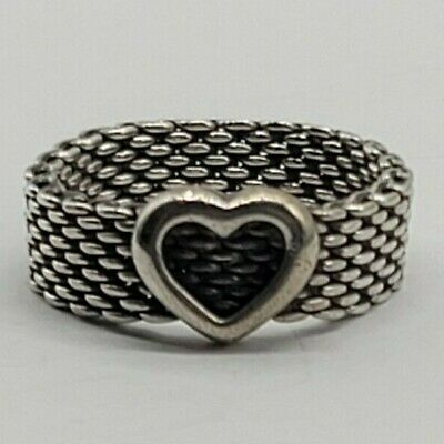 £79.86 • Buy Authentic Tiffany & Co. Size 8.25 Sterling Silver Somerset Mesh Heart Ring