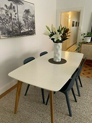 AU210 • Buy White Dining Table With Wooden Legs (Scandi Style) And 6 Ikea Chairs