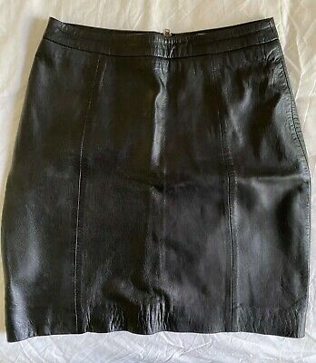 AU30 • Buy Gorman Black Leather Skirt Size 6 Pre-owned