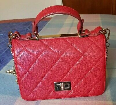 AU13.50 • Buy Forever New Women's Quilted Red Faux Leather Shoulder / Hand Bag  With Gold Trim