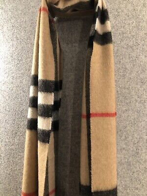 £225 • Buy Burberry 100% Cashmere Scarf In Heritage Check Camel -