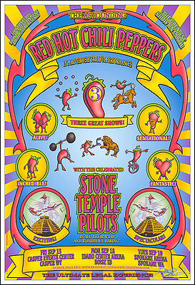 $20 • Buy STONE TEMPLE PILOTS & RED HOT CHILI PEPPERS Signed Original 2000 Concert Poster