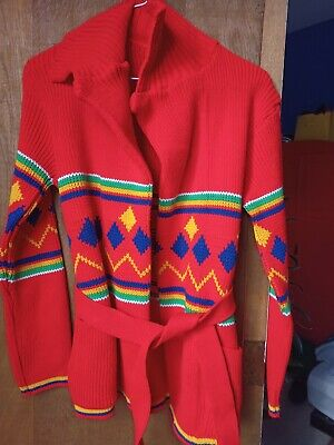 £14 • Buy Vintage Womens Knitted Cardigan Red Tie-waist Wrap Primary Colour Geometric