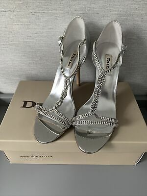 £5 • Buy Dune Silver Diamonte T Bar High Heels Sandals Wedding Prom Party Size 6