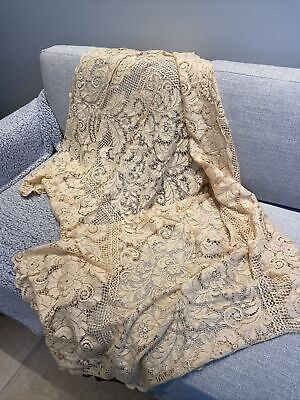 """£8 • Buy Vintage French Tablecloth Lace Panels Embroidery 62"""" X 46"""""""
