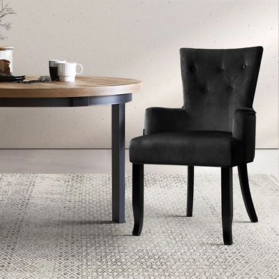 AU160.63 • Buy Artiss Dining Chairs French Provincial Chair Velvet Fabric Timber Retro Black