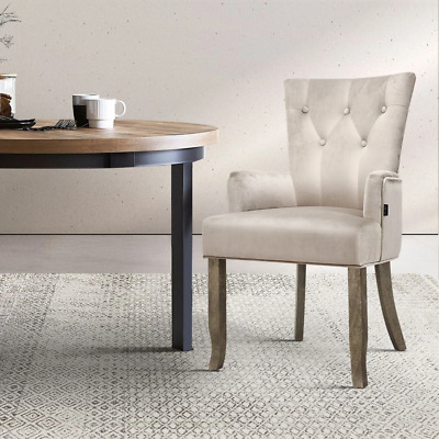 AU155.48 • Buy Artiss Dining Chairs French Provincial Chair Velvet Fabric Timber Retro Camel