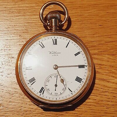 £29.30 • Buy Antique Waltham Traveler Full Hunter Gold Plated Pocket Watch Not Working