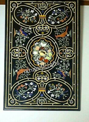 £3478.51 • Buy Black Marble Dining Table Top Pietra Dura Art Conference Table Top For Office