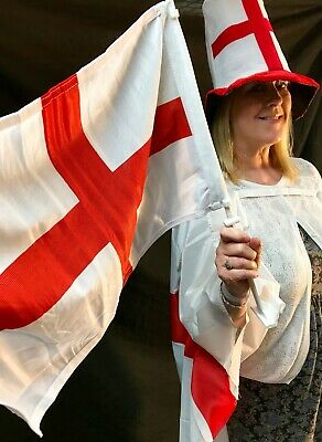 Pack Of 2 England St George's Day Car Flag High Quality/sturdy Pole Sport Event • 6.50£