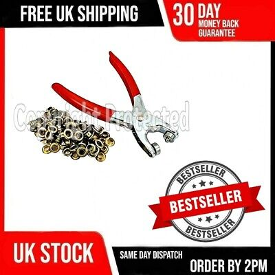 Craft Fabric Eyelet Pliers Tool Kit & 300 Free Brass Gold Eyelets Grommets 16a • 3.89£