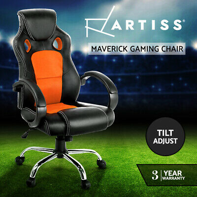 AU124.95 • Buy Artiss Gaming Chair Office Chair Computer Chairs Seating Racer Racing Orange