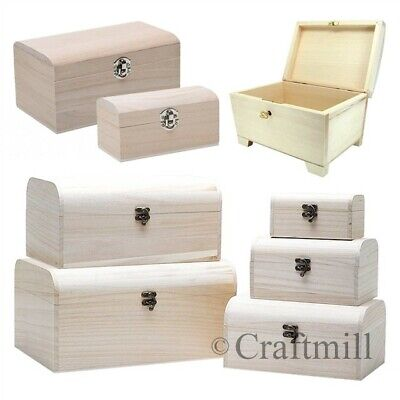 Plain Wooden TREASURE PIRATE CHEST, Jewellery, Storage, Craft Box, Small Large • 9.41£