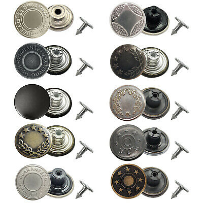 8pcs 17mm Jeans Stud Buttons With Silver Pins Hammer On Fly Denim Jacket Coats • 2.29£