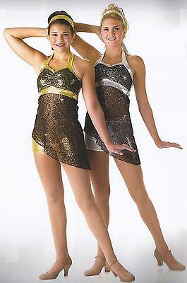 £17.46 • Buy Gold Silver Lyrical Jazz Tap Dance Costume Double Flash Child & Adult XL