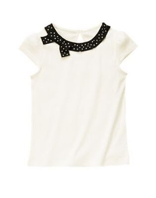 $7.49 • Buy Gymboree Bee Chic Ivory Dot Bow Neckline Tee 4 5 7 8 9 10 12 Nwt