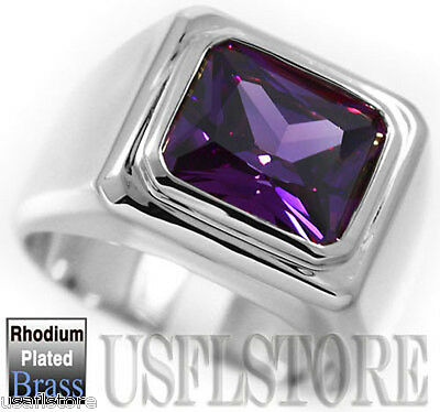 £17.83 • Buy Purple Amethyst Solitaire Silver Rhodium Plated Mens Ring