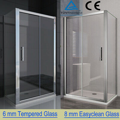 Sliding Shower Enclosure 6/8mm Glass Door Cubicle Side Panel And Stone Tray S88 • 193.99£