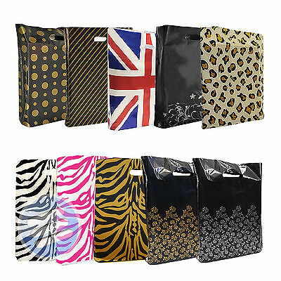 Strong Plastic Printed Carrier Bag/ Shopping Gift Bags - Medium: 15  X 18  X 3  • 4.99£