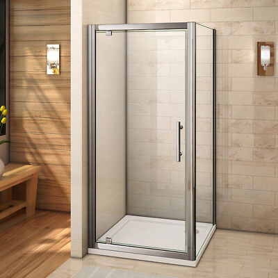 £102.56 • Buy Pivot Hinge Shower Enclosure Door 6mm Glass Screen Cubicle Side Panel+Stone Tray