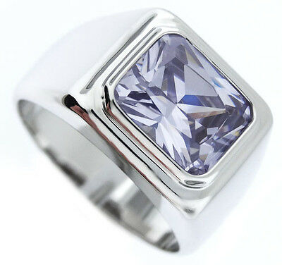£17.83 • Buy Mens Light Amethyst CZ Solitaire Silver Rhodium Plated Ring