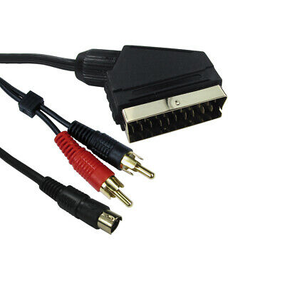 1.5m Scart To 2 X RCA Twin Phono + 4pin S-Video / SVHS Audio Video Lead Cable • 2.99£