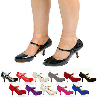 £16.99 • Buy Womens Ladies Strap Mid Heel Casual Smart Work Pump Court Shoes Size 3-8