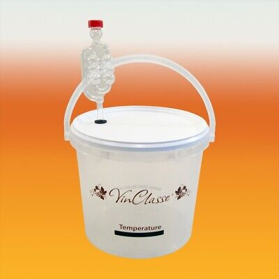 £9.80 • Buy VinClasse 5 Litre Clear Fermenting Bucket With Airlock & LCD Temp Strip