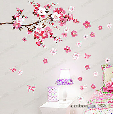 Large Peach Blossom Flower Butterfly Wall Stickers Art Decal Home Room Decor  • 5.29£