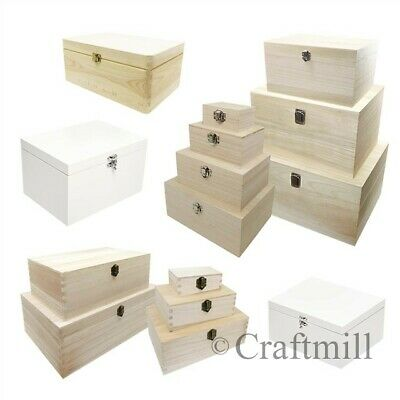 Plain Wood Wooden Rectangular Hinged Storage & Christmas Eve Boxes - CHOOSE SIZE • 12.08£