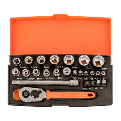 £25.59 • Buy Bahco SL25 Socket Set - 25 Piece 1/4  Drive With Ratchet & Case (Bacho Barco)