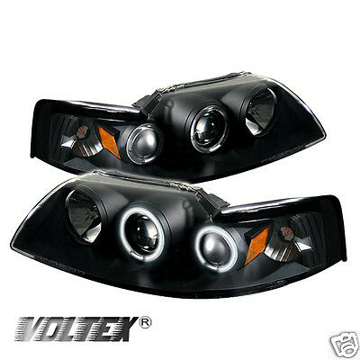 $249 • Buy 1999-2004 Ford Mustang Ccfl Projector Headlights Lightbar Light Bar Black